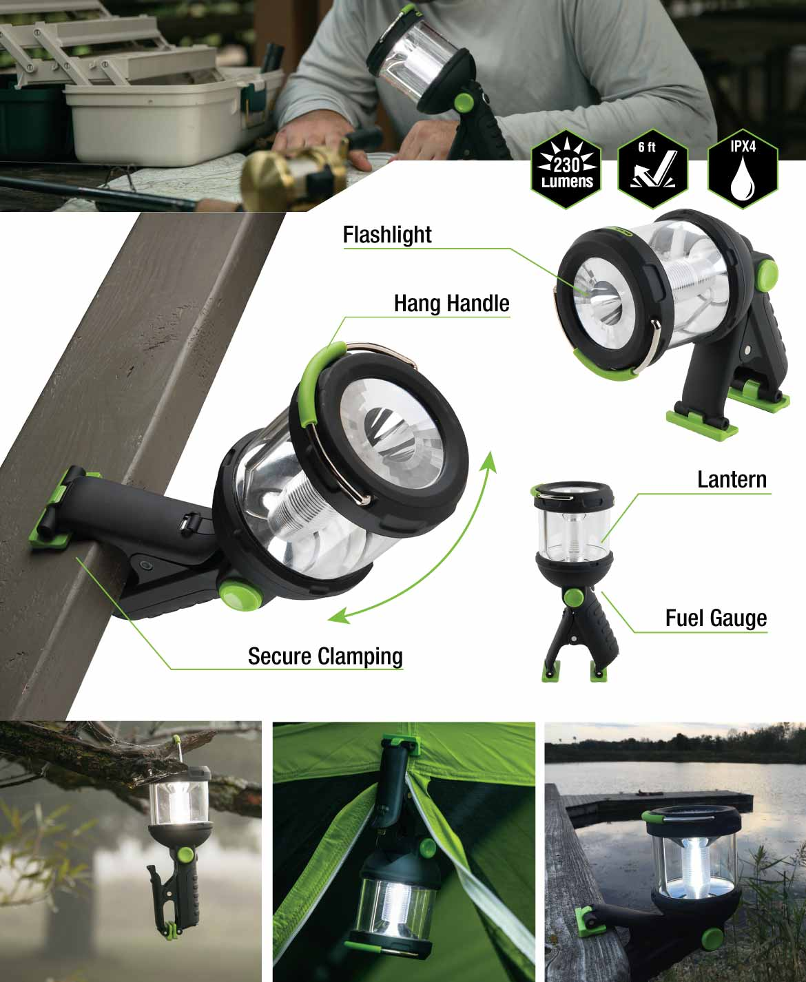 Extra features of the Blackfire Lantern LED Clamplight