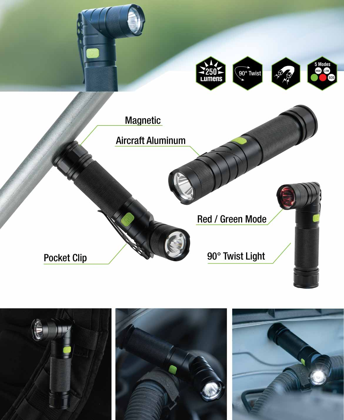 Extra features of the Blackfire Twist Magnetic Flashlight